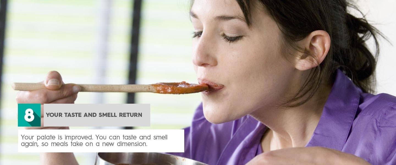 v Votre retour de goût et d'odeur